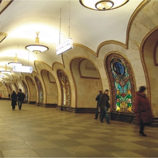 Novoslobodskaya metro station in Moscow. Architectural design.