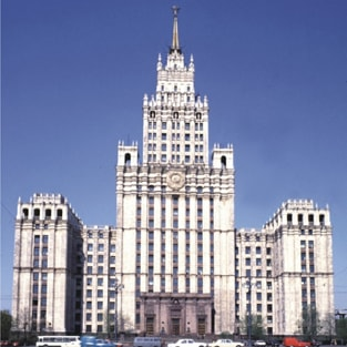 "The building of ""Transstroy"" corporation in Moscow. Architectural design."